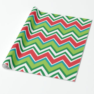 Festive Christmas Colors Chevron Pattern Wrapping Paper