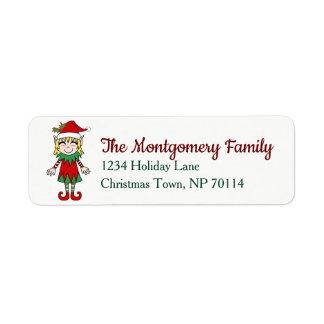 Festive Christmas Elf Girl Family Name