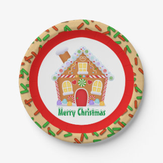 Festive Christmas gingerbread house add text plate 7 Inch Paper Plate