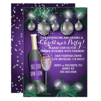 Festive Christmas Holiday Dinner Party Invitations