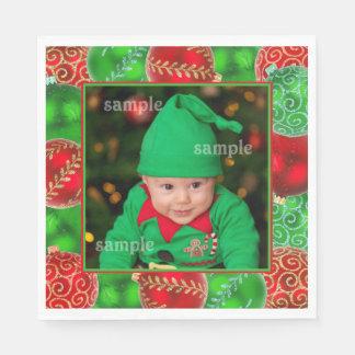 Festive Christmas Holiday Photo Template Paper Napkins