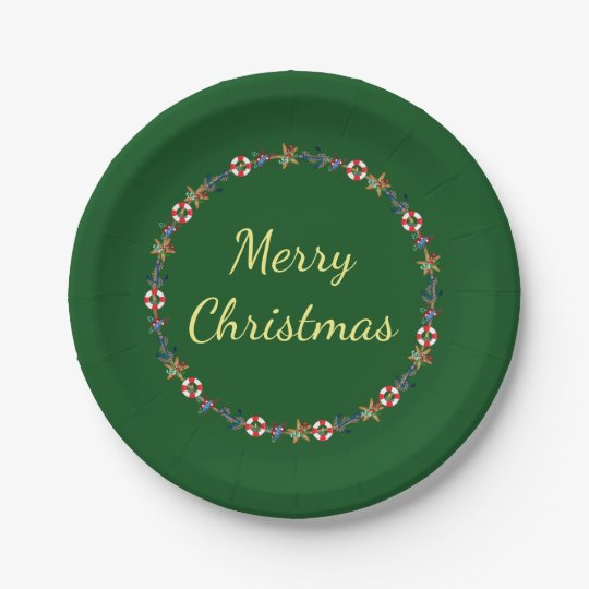 Festive Christmas Nautical Wreath Merry Christmas 7 Inch Paper Plate