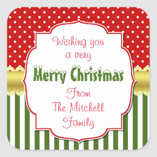 Festive Christmas Personalized Square Sticker