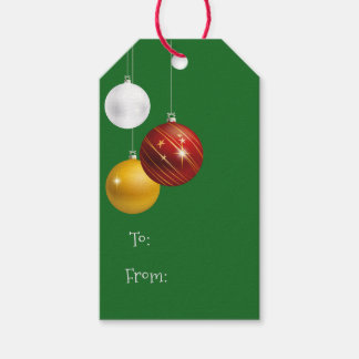 Festive Christmas Red & Gold Ornaments Gift Tags
