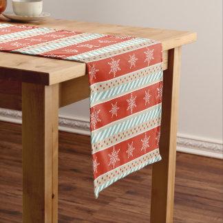 Festive Christmas Red Striped Snowflakes Pattern Short Table Runner