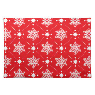Festive Christmas Red White Snowflakes Pattern Placemat