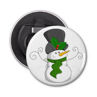 Festive Christmas Snowman Cartoon Bottle Opener
