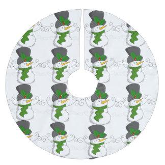 Festive Christmas Snowman Cartoon Brushed Polyester Tree Skirt