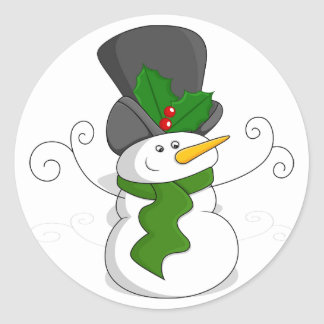 Festive Christmas Snowman Cartoon Classic Round Sticker