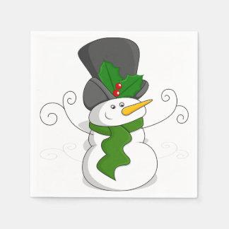Festive Christmas Snowman Cartoon Disposable Napkin