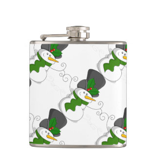 Festive Christmas Snowman Cartoon Hip Flask