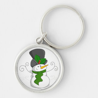 Festive Christmas Snowman Cartoon Keychain