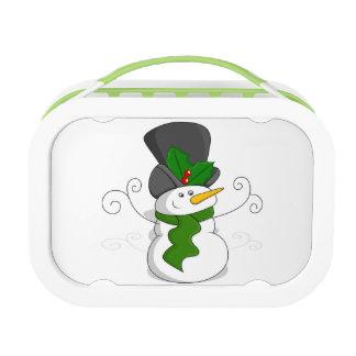 Festive Christmas Snowman Cartoon Lunch Box