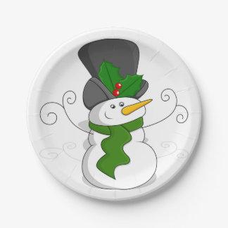 Festive Christmas Snowman Cartoon Paper Plate