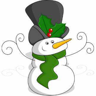 Festive Christmas Snowman Cartoon Photo Sculpture Magnet