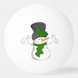 Festive Christmas Snowman Cartoon Ping Pong Ball