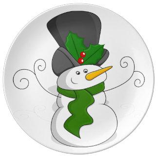 Festive Christmas Snowman Cartoon Plate