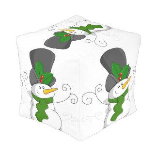 Festive Christmas Snowman Cartoon Pouf