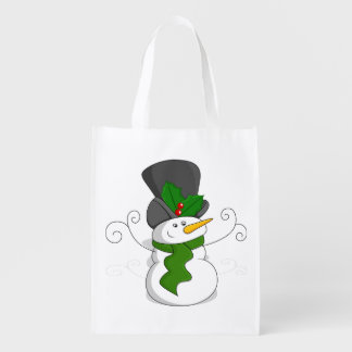Festive Christmas Snowman Cartoon Reusable Grocery Bag