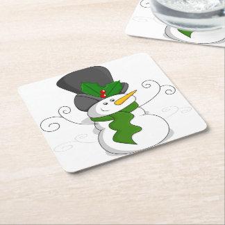 Festive Christmas Snowman Cartoon Square Paper Coaster