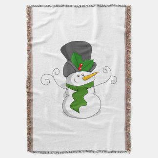 Festive Christmas Snowman Cartoon Throw Blanket
