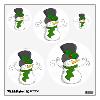 Festive Christmas Snowman Cartoon Wall Sticker