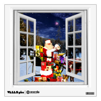 Festive Christmas Themed Santa Fake Window Wall Decal