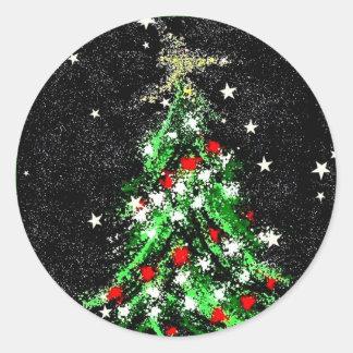 Festive Christmas Tree Sticker Abstract (On Black)