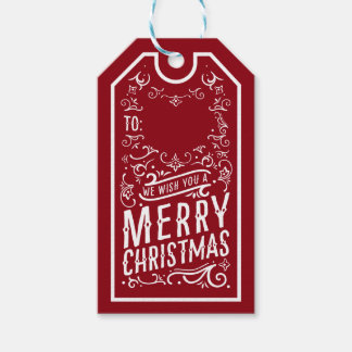Festive Christmas Typography Personalized Gift Tag