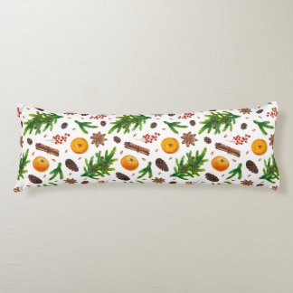 Festive Christmas Winter Pattern Berries Spices Body Pillow