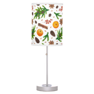 Festive Christmas Winter Pattern Berries Spices Table Lamp
