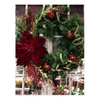Festive Christmas Wreath Postcard