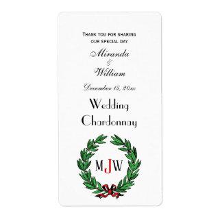 Festive Christmas Xmas Holly Wreath Monogram