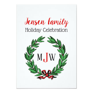 Festive Christmas Xmas Holly Wreath Monogram Card