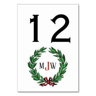 Festive Christmas Xmas Holly Wreath Monogram Card