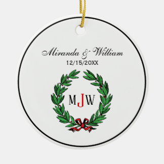 Festive Christmas Xmas Holly Wreath Monogram Ceramic Ornament