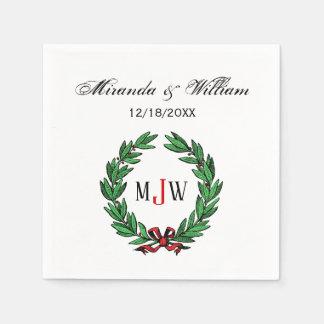 Festive Christmas Xmas Holly Wreath Monogram Disposable Napkins