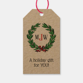 Festive Christmas Xmas Holly Wreath Monogram Gift Tags