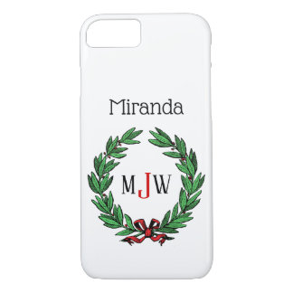 Festive Christmas Xmas Holly Wreath Monogram iPhone 8/7 Case