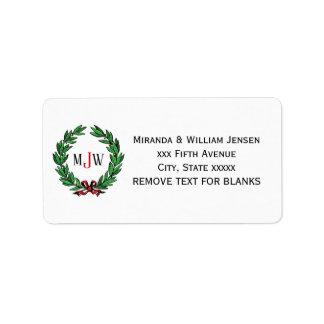 Festive Christmas Xmas Holly Wreath Monogram Label