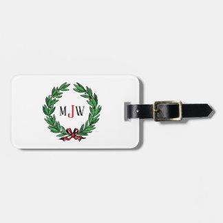 Festive Christmas Xmas Holly Wreath Monogram Luggage Tag