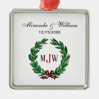 Festive Christmas Xmas Holly Wreath Monogram Metal Ornament