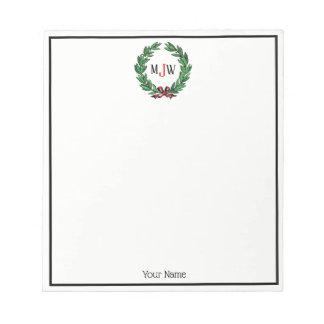Festive Christmas Xmas Holly Wreath Monogram Notepad