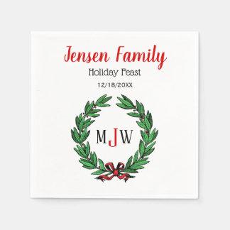 Festive Christmas Xmas Holly Wreath Monogram Paper Napkin
