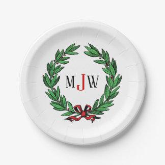 Festive Christmas Xmas Holly Wreath Monogram Paper Plate
