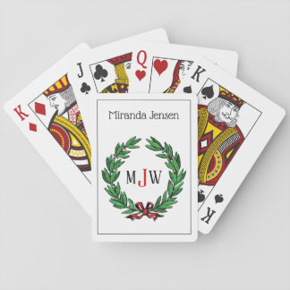 Festive Christmas Xmas Holly Wreath Monogram Playing Cards