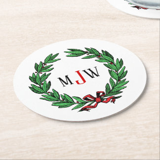 Festive Christmas Xmas Holly Wreath Monogram Round Paper Coaster