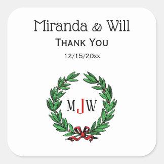Festive Christmas Xmas Holly Wreath Monogram Square Sticker