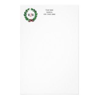 Festive Christmas Xmas Holly Wreath Monogram Stationery