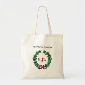 Festive Christmas Xmas Holly Wreath Monogram Tote Bag